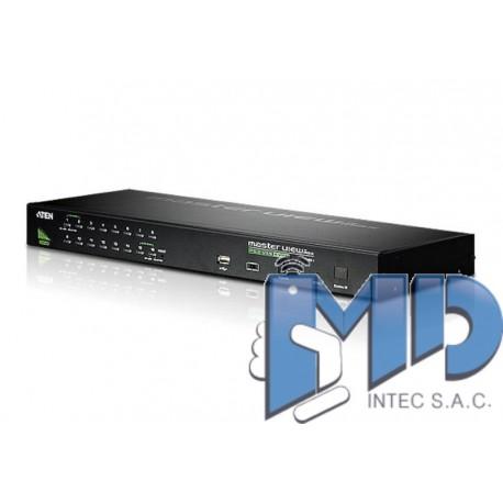CS1716A - Conmutador KVM VGA PS/2-USB de 16 puertos con puerto para conexión en cadena y soporte para periféricos USB